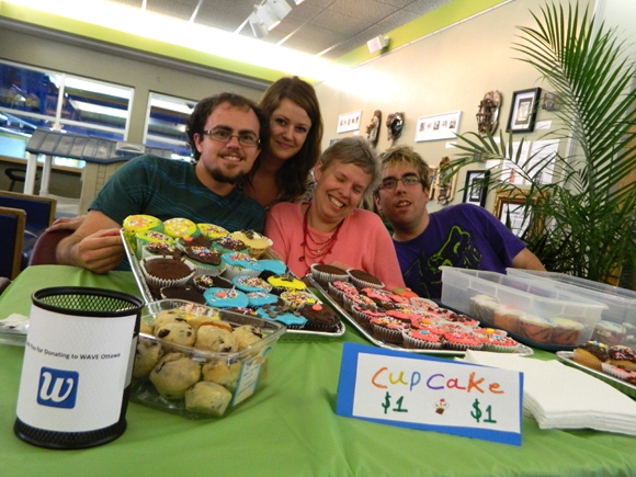 Edward King, Holly Martin, Jill Louise Goddard and Matthew McMahon took part in a bake sale to raise money for WAVE Ottawa. Photo by Kristy Strauss.