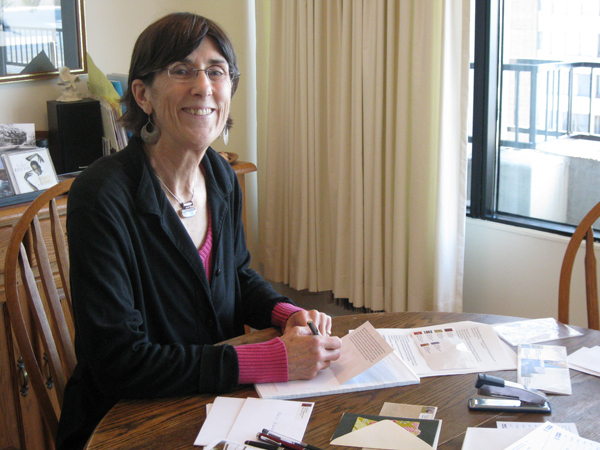 Westboro's Sue Smee took part in Amnesty International's annual Write for Rights campaign. Photo by Denise Deby.