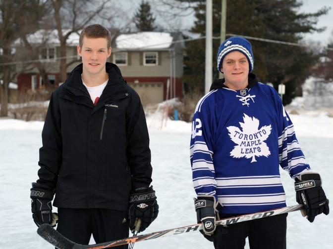 Rink attendants Aidan Worswick (left) and Patrick Johnston at the double surface McKellar Park rink. Photo by Anita Grace.