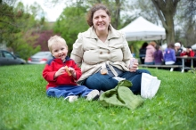 Annie Seelan and son Isaac, 1, enjoy a picnic with their market finds,