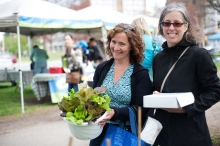 Charmaine Kippen and Wendy Schurman with their market finds