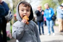 Kieran Mehta, 3, enjoys his fresh croissant