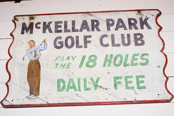 The original McKellar Park Golf Club sign now hangs in the bar of Pine Lodge Resort in Bristol, Québec. Photos courtesy of the National Air Photo Library and Joe McLean.