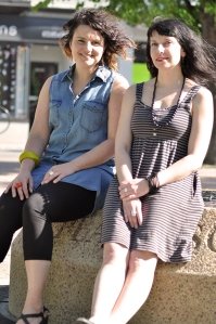 Anne Tessier and Summer Baird are planning a party for Somerset Square, June 21-29. Photo by Adam Feibel.