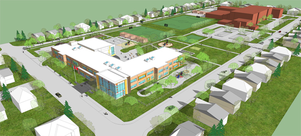 The proposal for the new Broadview Public School has it facing Dovercourt Ave. instead of Broadview. The location of the new school will allow the new building to be constructed while the existing school building is occupied