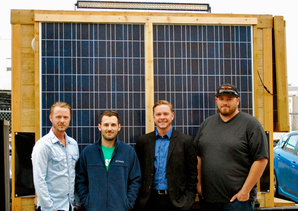 Founders of Solar On Site: Robert Payne, George Lessard, Matthew Payne and Jordan West. Their energy experiment is a reflection of the communal spirit fuelling Westfest, says Payne. Photo provided by Solar on Site