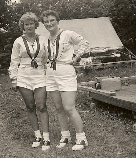 Carol Ann Joiner's mother with Doreen Hewlett, age 16, in their summer shorts with their middies. Canadian Girls in Training will be celebrating 100 years on October 17, 2015 at Westminster Presbyterian Church on Roosevelt Avenue in Westboro.