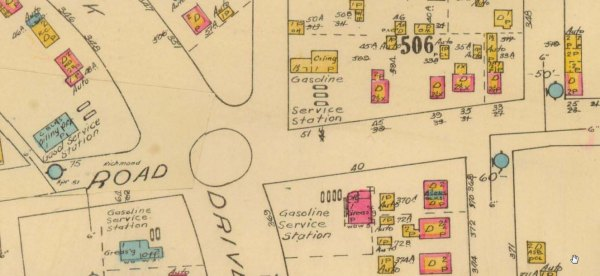 This scan of a 1948 Fire Insurance Plan of Ottawa, shows the intersection, complete with the original traffic circle, and the gas station, but most notably the FOUR gas stations that existed at this corner, all at the same time