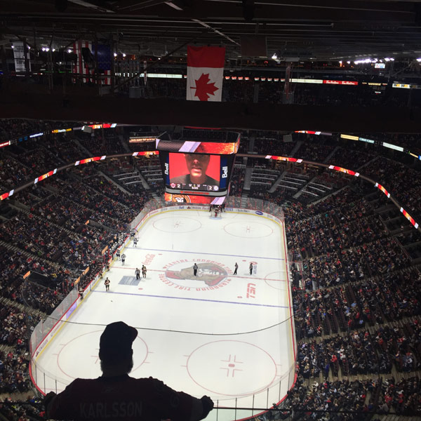 Peter Joynt pictured on the big screen at the Canadian Tire Centre. Photo by Sudhir Shukla