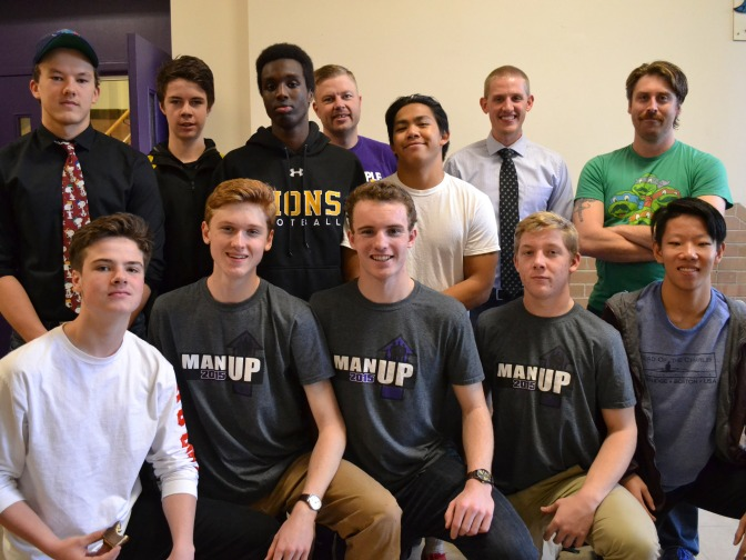 Meet the members of the Man Up Club at Nepean High School: (Back row, left to right) James Feschuk, Ryan Walsh, Jamal Boyce, John Unsworth, Patrick Santos, Chris Dunbar, Tyler Wallace. (Bottom row, left to right) Miles Lawlor, Eamon Kelly, Nicholas Cooke, Cam Dowell, Nicholas Lee. Photo by Cindy Lam