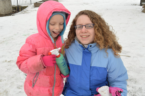 "Kitchissippi residents Patty Mosher and her daughter Kayleigh Mosher, 6, spent some time decorating an igloo with coloured water. Patty has been to the carnival before and reading about it online served as a timely reminder. ""I was looking online for Winterlude events and I found this."""