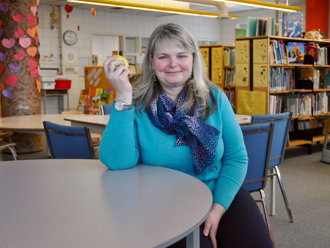 "Churchill P.S. principal Megan Egerton says an apple a day is a ""win-win for educators."" Photo by Andrea Tomkins"