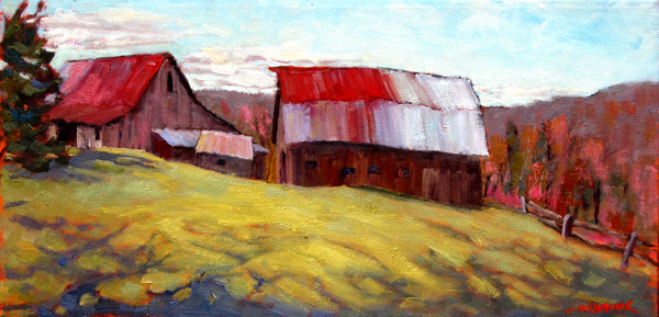 """""""Spring on the Mountain,"""" by Kathy M. Haycock. Kathy, who lives and works around Eganville, Ontario, explores """"the edge between realism and abstraction"""" in her paintings. Her work will be on display at Cube Gallery until May 29."""