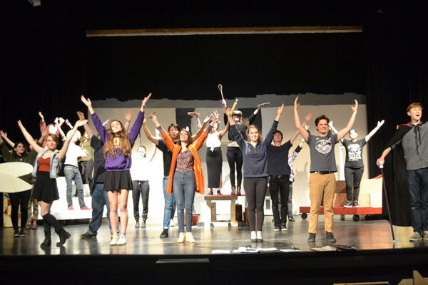 The full cast of The Drowsy Chaperone during rehearsals.