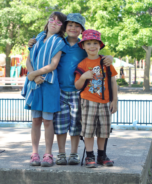 Mackenzie Pollock (8) and her brothers Campbell (7) and Christopher (5) are more than ready to kick off the summer at Dovercourt. Photo by Andrea Tomkins