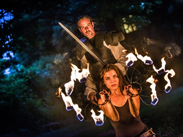 Chris McLeod starred as Macbeth and Zoe Georgaras was one of the fire witches in Bear & Co's production of Macbeath this summer. Zoe also directed the production's fire choreography.