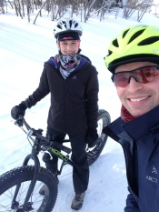 "Graham page writes: ""This is Jazmine and I when we got her a rental fat bike from the Fresh Air Experience booth on the SJAM. It was a really cold day in January (I think -20 or so with the wind), but we had a great few hours out on the bikes!"""
