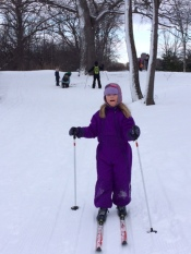"Jasmine Parsons, age 10 years, enjoying the SJAM Winter Trail. ""Accessible sports for all,"" writes Annie Berube."