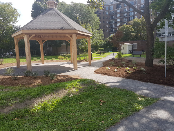 The gazebo at Golden Manor was completed last summer. Next up on the list: proper seating for residents and neighbours. Photo courtesy of OttawaCommunity Housing