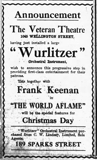 Ad from the Ottawa Journal, Dec.24, 1920
