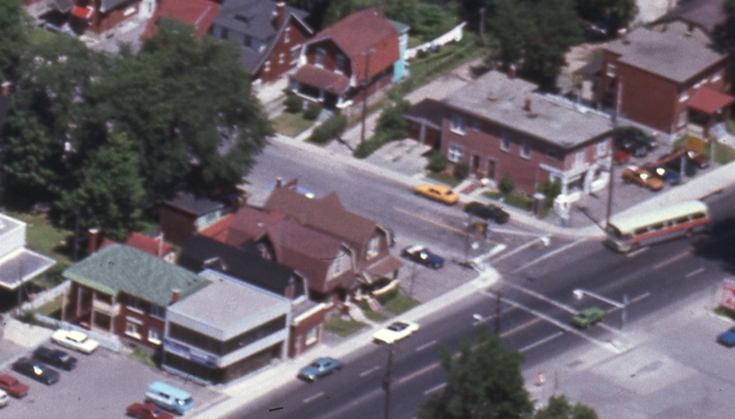 Bird's eye view of the property in 1974