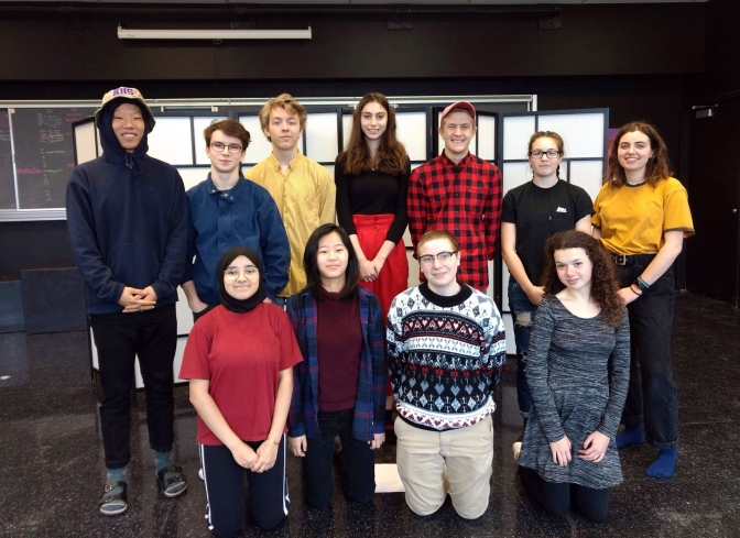 Nepean HS Improv Club from left to right, top row: Nick Lee, Leo Compton, Cameron Jaimet, Chiara Bee, Sebastian Cattrysse, Sara Popovich, Anna Kollenberg Bottom row: Zineb Nour, Audrey Lee, Jay Burns, Anna Berglas.