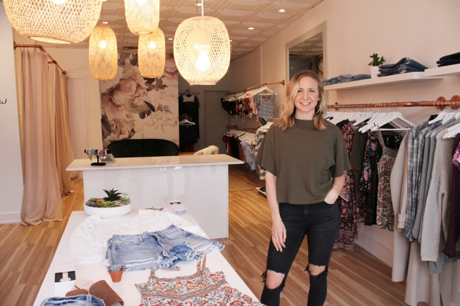 """Tallow co-founder Jasmine Riley says she and the other founders are going for a """"surf-lifestyle, yoga-lifestyle vibe"""" with the new swimsuit and clothing store at 1116 Wellington St. W."""